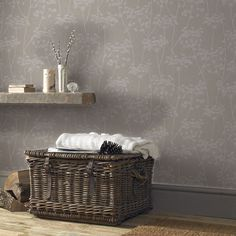 Flawlessly simple, this delicate sprig motif design stretches over a textured neutral base for the ultimate in easy living wallpaper. Straight match 25 inch pattern repeat Non woven paper Paste the wall application Color: Taupe. Plain Wallpaper, Wallpaper Decor, Textured Wallpaper, Easy Wallpaper, Wilko Paint, Vitrine Vintage, Gloss Paint, Botanical Wallpaper, Simple Wallpapers