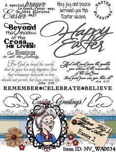 Description:10 individual sentiments designed around celebrating Easter. 2 of them are extracts from the Bible that refer to the resurrection. Bonus digital is Happy Easter that has a gold metal look.    Digital clip art for scrapbooking, card making, photography overlays, invitations, journalling and more. Use for personal digital projects, but also easy to print out as many times as you want on card stock and color or print on transparency sheets to use in your paper scrapbooking or hybrid…