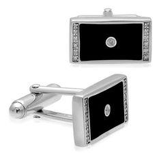 Men's Sterling Silver Enamel Rectangular Diamond Cuff Links (1/10 cttw, I-J Color, I2-I3 Clarity) $100.00