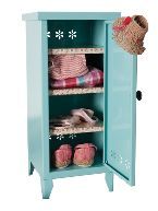Metal cabinet w. shelves,  turquoise