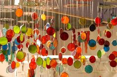 colorful glass chimes
