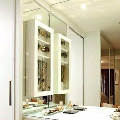 armário porta joia tipo penteadeira mdf com vidro