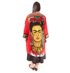 Cotton kimono coat with Frida Khalo& roses