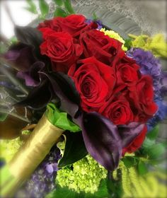 Royal red, purple and gold bridal bouquet from this falls Bridal Expo- Bennett's Flowers.