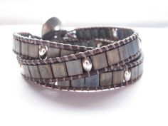 Metallic Grey Tila Bead Triple Leather Wrap Bracelet, Grey leather, Beaded bracelet. $40.00, via Etsy.