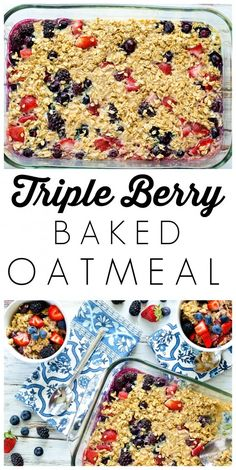 Triple Berry Baked Oatmeal--a healthy breakfast recipe from Happy Healthy Mama.  Use frozen fruit when berries aren't in season.  This is easy to mix ahead of time and bake in the morning!  Love this healthy and easy breakfast idea!