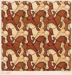 15 Horseman Maurits Cornelis Escher  juin 1898 - Laren, 27 mars 1972) est un artiste néerlandais, connu pour ses gravures sur bois, lithographies et mezzotintos souvent inspirées des mathématiques. Elles représentent des constructions impossibles, des explorations de l'infini, des pavages et des combinaisons de motifs qui se transforment graduellement en des formes totalement différentes. Wikipedia