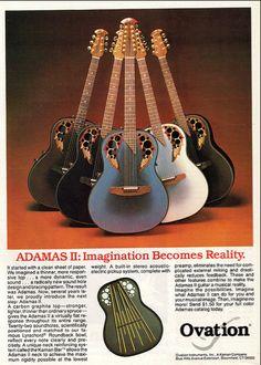 The 1984 Ovation Adamas Lyrachord Roundback Series Guitars 8 x 11 ad print Cort Guitars, Washburn Guitars, Kenny Loggins, Guitar Magazine, Guitar Photos, Cool Electric Guitars, Guitar Photography, Pin Up Photos, Guitar Collection
