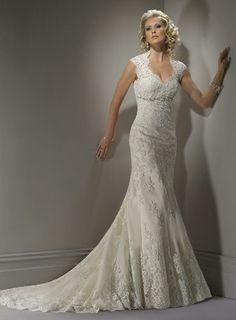 Two straps empire waist fish train with scalloped edging lace wedding dresses Bernadette
