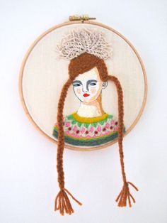 Hand embroidery hoop art portrait in wool by JessQuinnSmallArt