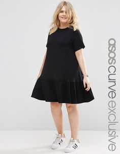 10b679540ed0 ASOS CURVE Swing Dress With Ruffle Hem at asos.com