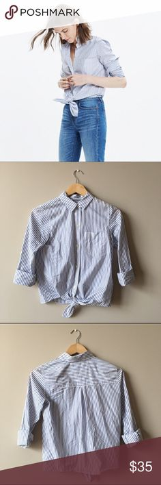 Madewell Tie-Front Shirt Worn once, in excellent condition. 100% cotton. Madewell Tops Blouses
