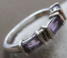 Sterling Silver ring set with Amethyst Stones