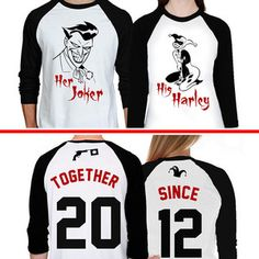 Joker Harley Quinn Couples Raglan Shirts Together Since Matching Baseball Shirts Her Joker His Harley Together Since Custom Shirts