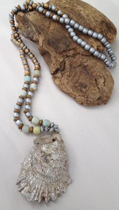 Oyster Shell Beaded Necklace/Layering by MyHoneypickles on Etsy