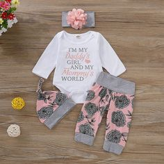 Baby Girl Floral Print Long-sleeve Bodysuit and Pants with Hat and Headband Set Baby Girl Romper, Daddys Girl, My Baby Girl, Dress Girl, Baby Bodysuit, Baby Girls, Toddler Girls, Cute Baby Clothes, Baby & Toddler Clothing