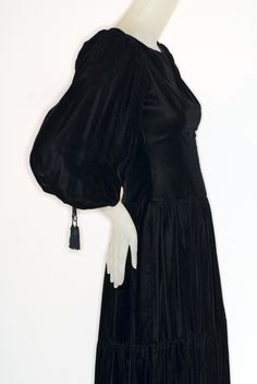 1970s black velvet Oscar de la Renta Peasant Dress.