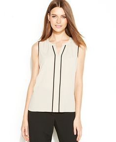 Calvin Klein Sleeveless Contrast-Trim Blouse