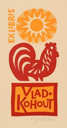 Ex libris by Stanislav Vymetal for Vladislav Kohout (1964)