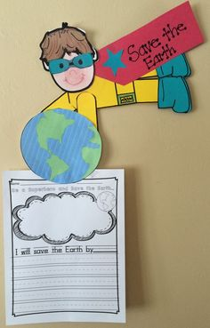 Craftivity for Earth Day Bulletin Board or Display! Be a Superhero and Save the Earth combines Writing and Science. Children make themselves as this adorable superhero and write what they will do to save the earth. Everything you need to complete this craftivity is included. Just copy pieces on to colored card stock or construction paper and you are ready to go! I would have the students do the writing first and then make themselves as a superhero.