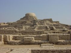 The ruins of the huge city of Moenjodaro – built entirely of unbaked brick in the 3rd millennium B.C. – lie in the Indus valley. The acropolis, set on high embankments, the ramparts, and the lower town, which is laid out according to strict rules, provide evidence of an early system of town planning.