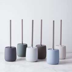 Your bathroom just got an upgrade thanks to these snazzy accessories including a toothbrush tumbler, tidy tray, soap dish and dispenser, and toilet brush. Bathroom Toilets, Bathroom Sets, Small Bathroom, Bathrooms, Rental Bathroom, Bathroom Canvas, Diy Home, Home Decor, Soap Dispensers