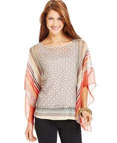 Style&co. Petite Batwing-Sleeve Printed Poncho Top