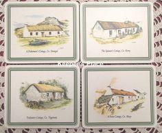 Set Of 4 Vintage Irish Cottage Coasters Donegal Kerry Mayo Tipperary Ireland