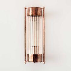 Aplique metal color cobre cristal rayado transparente