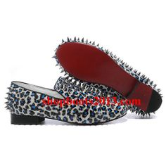 Christian Louboutin Rollerboy Spikes Leopard Flats White Blue aka idk about this one Leopard Flats, White Flats, Cl Shoes, Shoe Boots, Christian Louboutin Outlet, Well Dressed Men, Shoe Game, Gq, Heeled Mules