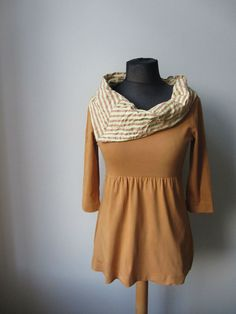 Upcycled Clothing / Yellow and Brown Striped Seersucker Cowl Neck Mustard Yellow Tunic Tshirt / cowl made from shirt sleeves / Womens Tops