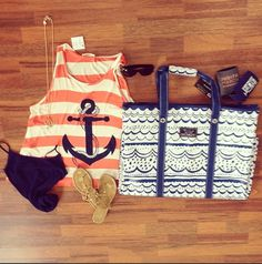 Beach Ready!!!!! @SCOUT 4 Boys Bag for all of our towels & beach toys - flip flops & sunnies are a must - the Sailor's Wife tank for a cover up - And there is no going without our Judith March #jmretailers koozies for our cool drinks!!! Come by or shop online for your beach ready look! Southernswankboutique.com #beachfun #beachbum