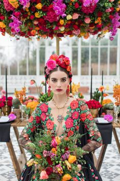 Inspired by Frida Kahlo colourful floral wedding editorial, dress by Joanne Fleming Design, photo by Roberta Facchini Mexican Fashion, Mexican Style, Frida Kahlo Wedding, Fern Wedding, Floral Wedding, Frida And Diego, Strictly Weddings, Lesage, Mexican Dresses