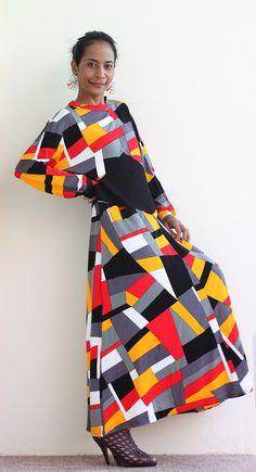 Maxi Dress Rainbow - Colourfull Long Sleeve Maxi dress : Autumn Thrills Collection No.5 via Etsy