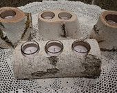 1 White Birch Log w/ 3 Votive  Candle Holders Perfect for Weddings, Centerpieces, Fireplace