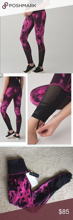 Lululemon Sweaty Endeavor Tight These are NEW with tags attached! An extra layer of Mesh fabric on the waistband takes these high-rise tights to new heights when it comes to support and ventillation. fabric + features: a tight-knit version of Luon® fabric, Full-On® Luon is sweat-wicking and four-way stretch added LYCRA® fibre moves with you and stays in great shape Mesh fabric panels on the calves offer serious ventilation drawcords in the hem let you choose your length Hugged Sensation…