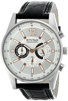 b4014116878 Buy Titan Classique Chronograph Silver Dial Men s Watch - NE9322SL01A Online  at Low Prices in India - Amazon.in