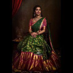 Top Half Saree Designs That Will Look Too Good in Photos Wedding Saree Blouse Designs, Pattu Saree Blouse Designs, Half Saree Designs, Lehenga Designs, Indian Bridal Sarees, Bridal Silk Saree, Indian Bridal Outfits, Bridal Lehenga, Saree Wedding