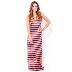 Multi #Stripe Racerback Maxi #Dress