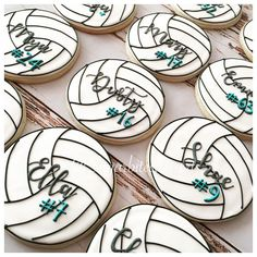 Personalized Volleyballs! 🏐 🏐🏐 Cookies are always a cute way to celebrate your kids sports team!💙 #decoratedcookies #sugarart #instacookies #edibleart #volleyball #volleyball🏐 #volleyballcookies #sports #instacookies #cookiesofinstagram #cookies #royalicingart #sugarcookies #royalicingcookies #decoratedcookies #cookiefavors #sugarbitesdesserts