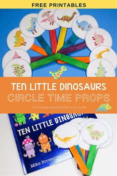 This Ten Little Dinosaurs circle time activity is a fun way to work on simple math skills with preschoolers. Free printable props included! #preschool #dinosaurs #math #counting #printable #circletime #teachers #earlychildhood #education #literacy #3yearolds #teaching2and3yearolds Dinosaur Theme Preschool, Dinosaur Activities, Preschool Learning Activities, Toddler Activities, Montessori Preschool, Montessori Elementary, Elementary Education, Preschool Ideas, Classroom Activities