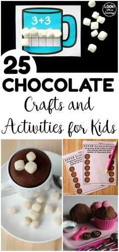 These chocolate activities for kids are perfect for a sweet learning experience! Share some with your students this winter! Winter Activities For Kids, Winter Crafts For Kids, Craft Projects For Kids, Art For Kids, Craft Ideas, Chocolate Crafts, Free Printable Gift Tags, Homemade Playdough, Fun Arts And Crafts