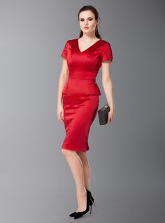 Wow him this Valentine's Day with the Joe red peplum cocktail dress | DD Atelier. Specially made for a large bust.