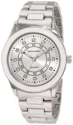 Vernier Women's VNR11080WT Sunray Dial with Stones Bracelet Quartz Watch Vernier. $20.56