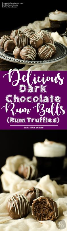 Deliciously Intense Dark Chocolate Rum Balls - Super boozy, dark chocolate truffle like Rum Balls made with digestive cookies or graham crackers and a whole lot of Rum! These are Dairy free friendly (and vegan friendly) and an excellent and easy edible gift choice! There's a reason why these are so popular!