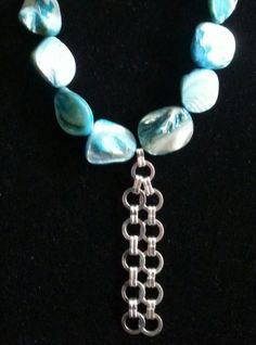 Teal white & silver necklace by AccentsbySamantha on Etsy, $24.00