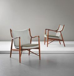 PHILLIPS : UK050414, Finn Juhl, Pair of early armchairs, model no. NV 45