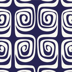 Lesley Evers - Navy Swirls  #textile #fabric #pattern
