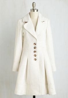 Heart and Solstice Coat. Fall in love with this exquisite ivory coat in the way you do with each changing season. #white #modcloth