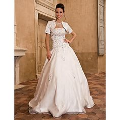 Lan Ting Ball Gown Plus Sizes Wedding Dress - Ivory Floor-length Strapless Satin/Taffeta – USD $ 149.99